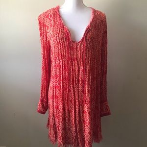 Free People Red Long Sleeve Boho Dress